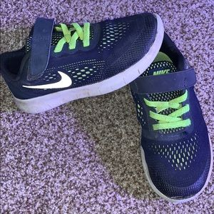 Boys Nike sneakers Free Run strap blue neon green